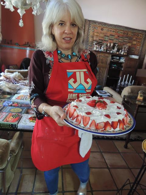 Susan Whitfield with Tres Leches cake